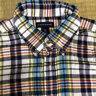 ランズエンド(LANDS'END)のラウンズエンド 半袖 チェックシャツ XL(シャツ)