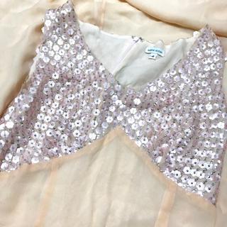 アッシュペーフランス(H.P.FRANCE)のHIROKO SUZUKI スパンコール装飾 シルク ワンピース ドレス(ひざ丈ワンピース)