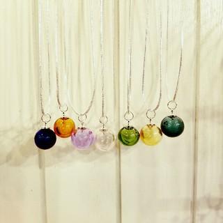 12mmガラス玉にアロマ入れられる☆アロマネックレス☆全7色☆スポイト付き