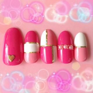 ピンク系パレット♡スタッズパールネイル