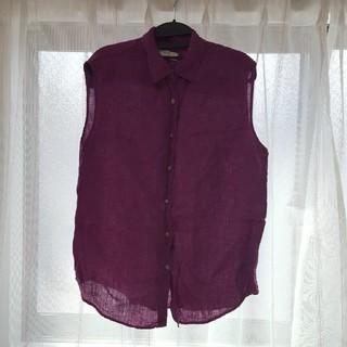ユニクロ(UNIQLO)のtonakai様専用ユニクロ ノースリーブ ブラウス ワインピンク XL(シャツ/ブラウス(半袖/袖なし))