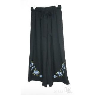 シマムラ(しまむら)の【新品】しまむら 裾刺繍ワイドパンツ 黒(その他)