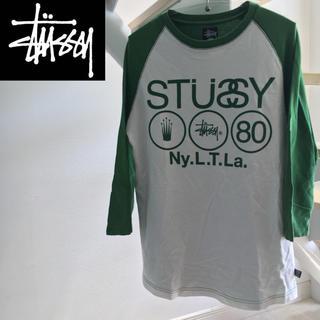 ステューシー(STUSSY)のSTUSSY ステューシー ロンT  ホワイト×グリーン Mサイズ(Tシャツ/カットソー(七分/長袖))