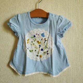 アコバ(Acoba)の新品紙タグ付き『acoba』のFlowerプリントTシャツ 95 水色(Tシャツ/カットソー)