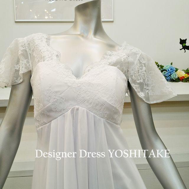 ウエディングドレス マタニティードレス エンパイア レディースのフォーマル/ドレス(ウェディングドレス)の商品写真