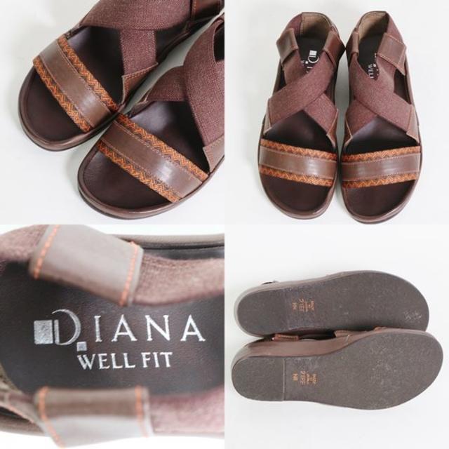 DIANA(ダイアナ)の【極美品】ダイアナ WELL FIT ブラウン レザーサンダル 21cm レディースの靴/シューズ(サンダル)の商品写真