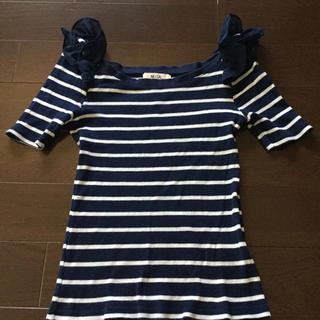 ミーア(MIIA)のMIIA トップス ボーダー フリル(Tシャツ(半袖/袖なし))