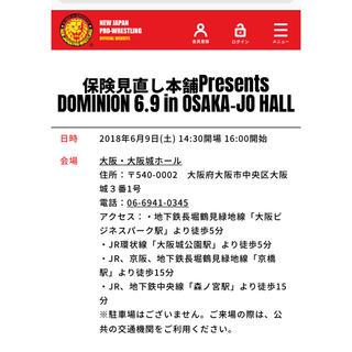 新日本プロレス チケット 6.9 ドミニオン 大阪城 2階特別席ペア(格闘技/プロレス)