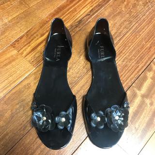 フルラ(Furla)の新品未使用 FURLA  ラバーシューズ  雨の日 ブラック 黒 花 フラワー(レインブーツ/長靴)