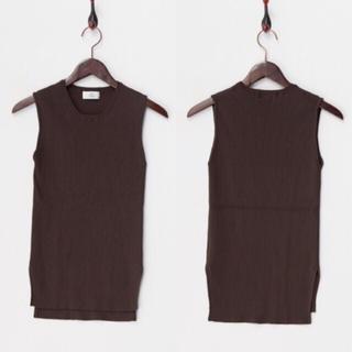 メゾンドリーファー(Maison de Reefur)の新品 メゾンドリーファー リブニット ブラウン(カットソー(半袖/袖なし))