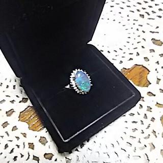 ブラックオパ―ルとダイヤのリング   新品(リング(指輪))