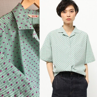 エディション(Edition)のEDITION ドットジャガード開襟シャツ BACCA(シャツ/ブラウス(半袖/袖なし))