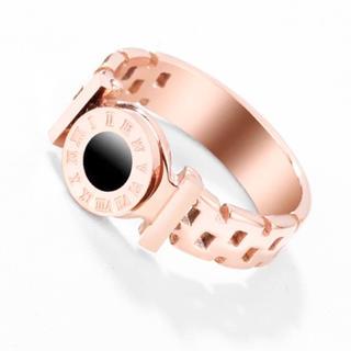 18Kピンクゴールド鍍金ブラックローマ字リング(リング(指輪))