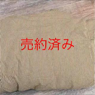 ムジルシリョウヒン(MUJI (無印良品))の売り切れ 無印良品 ダブル掛布カバー 茶ストライプ(シーツ/カバー)