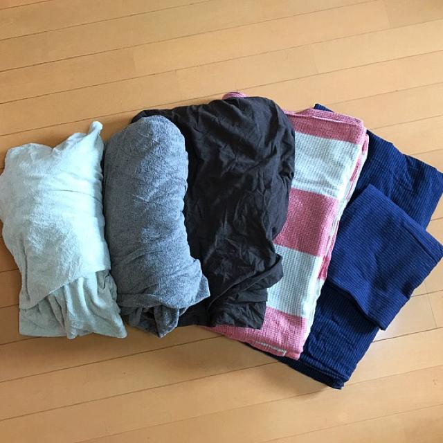 MUJI (無印良品)(ムジルシリョウヒン)の無印良品  掛け布団カバー2点  ボックスシーツ3点 枕カバー1点 インテリア/住まい/日用品の寝具(シーツ/カバー)の商品写真
