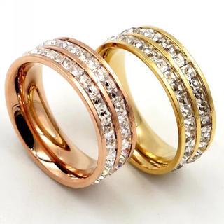 2連☆キラキラスワロ!サイズ充実!チタンステンレス製リング指輪(リング(指輪))