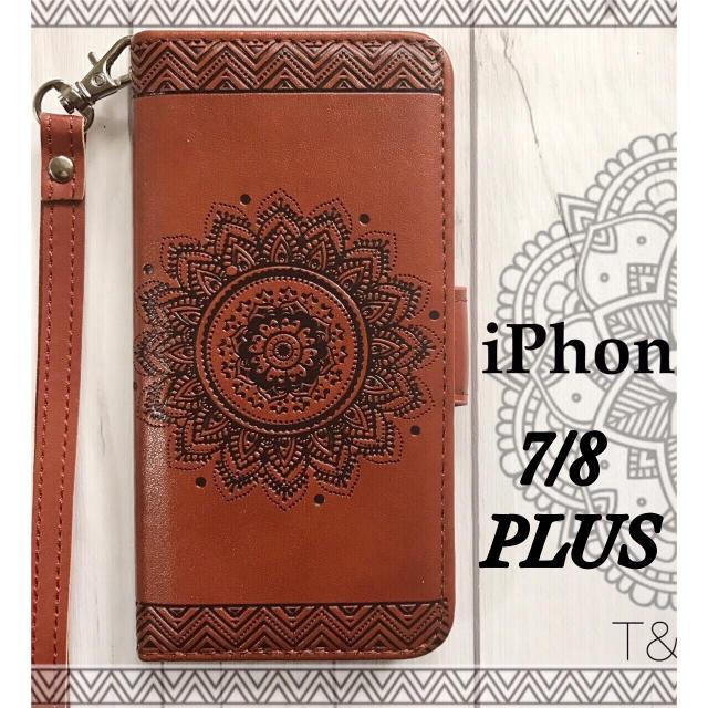 d1d9fbfeca iPhone7/8Plus 手帳型 フラワーケース エンボス型押し+フィルム スマホ/家電/