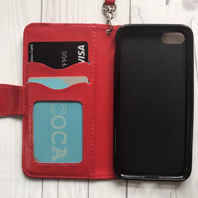 6dfa111a60 iPhone7/8Plus 手帳型 フラワーケース エンボス型押し+フィルム 赤 スマホ/家電