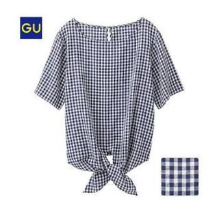 ジーユー(GU)の程度良好 GU ジーユー リネンブレンドTブラウス(ギンガム・半袖)(シャツ/ブラウス(半袖/袖なし))