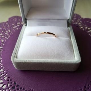 K10ピンクゴールド一粒ダイヤモンドリング(リング(指輪))