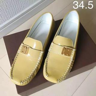 ルイヴィトン(LOUIS VUITTON)の美品本物ルイヴィトン 本革ローファー 34.5ベージュ色(ローファー/革靴)