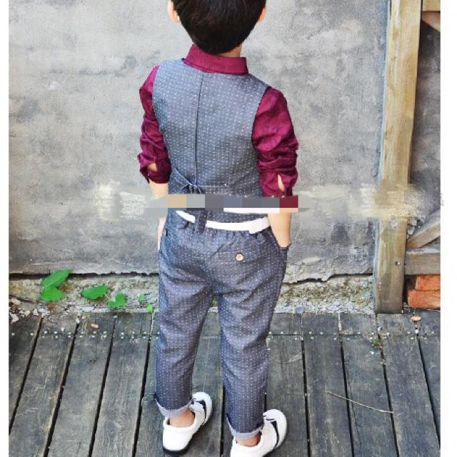 ad448adf1e168 130cm 韓国風 上下2点セット 子供スーツ 夏 ドット柄 ベスト&ズボンの ...