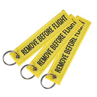 『REMOVE BEFORE FLIGHT』(黄・黒文字)キーチェーン(その他)