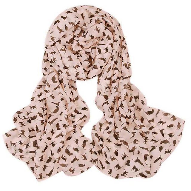 猫スカーフ 猫ショール ネコ柄シフォンスカーフ ピンク♪ 新品未使用品 送料無料 レディースのファッション小物(マフラー/ショール)の商品写真