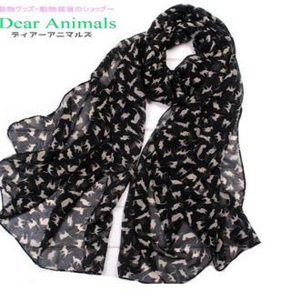 猫スカーフ 猫ショール ネコ柄シフォンスカーフ ブラック♪ 新品未使用品(猫)