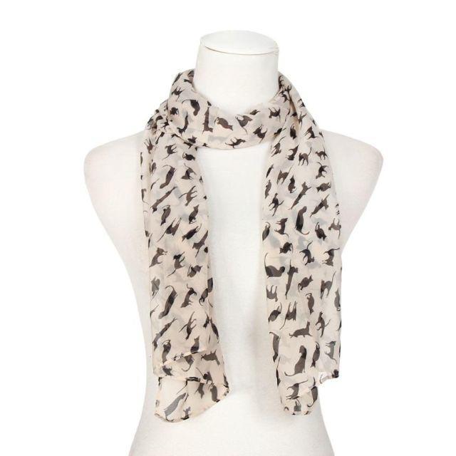 猫スカーフ 猫ショール ネコ柄シフォンスカーフ ベージュ♪ 新品未使用品 レディースのファッション小物(バンダナ/スカーフ)の商品写真