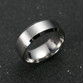 新品★シルバー チタニウム リング 16号 US8号 銀 チタン シンプル 指輪(リング(指輪))