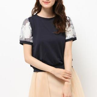 ミスティウーマン(mysty woman)のmysty woman ♢ オーガンジー花柄パフ袖T(Tシャツ(半袖/袖なし))