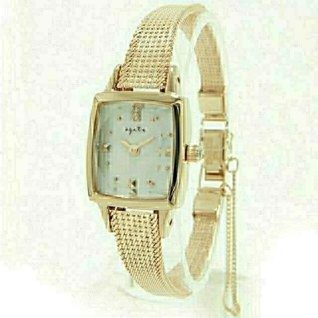agete(アガット)の【美品】agate(アガット) スクエア フェイス ジュエリー ウォッチ YG レディースのファッション小物(腕時計)の商品写真