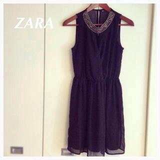 ザラ(ZARA)のZARA☆ビーズシースルーワンピース(ミニワンピース)