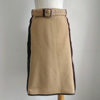 プラダ(PRADA)のPRADA SPORTS パイピング ベルト付きミディアムスカート(ひざ丈スカート)