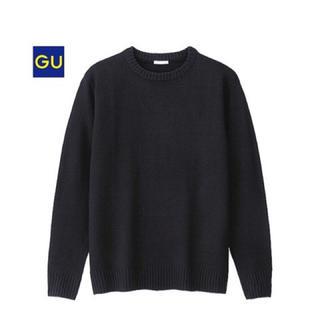 ジーユー(GU)のメンズ クルーネックセーター 長袖 ブラック Mサイズ(ニット/セーター)