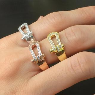 話題商品☆18K金コーティング☆ホースシュー指輪(リング(指輪))