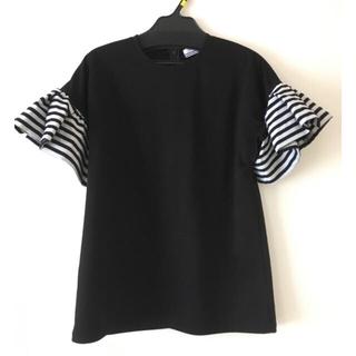 バーニーズニューヨーク(BARNEYS NEW YORK)の送料込み ☆新品☆ボーダーズアットバルコニー  ラッフルTシャツ  36(Tシャツ(半袖/袖なし))