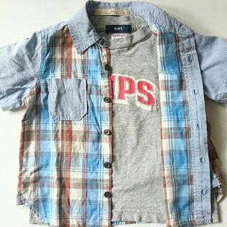 シップス(SHIPS)のキッズTシャツ&チェック半袖シャツセット(100-110)(Tシャツ/カットソー)