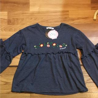 シマムラ(しまむら)の新品 しまむら 花 刺繍 リボン フリル 女児 キッズ トレーナー プルオーバー(Tシャツ/カットソー)