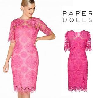リプシー(Lipsy)のPaper Dolls◇クロシェレース ワンピース ドレス ピンク(ひざ丈ワンピース)