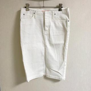 バーニーズニューヨーク(BARNEYS NEW YORK)のmunich✴︎ミューニック ホワイトデニム タイトスカート(ひざ丈スカート)