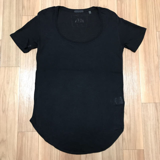 バーニーズニューヨーク(BARNEYS NEW YORK)のATM  エーティーエム■Uネック Tシャツ■レディース sizeS ブラック(Tシャツ(半袖/袖なし))