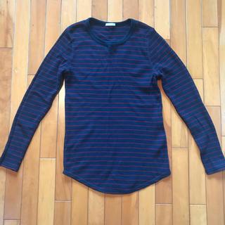 ジーユー(GU)のレディース ボーダー ロンT トップス 紺 ネイビー×レッド ロングT(Tシャツ(長袖/七分))