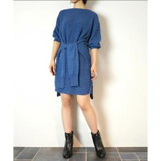 ナイン(NINE)のNINEの袖付きニットワンピ♡ブルー(ひざ丈ワンピース)