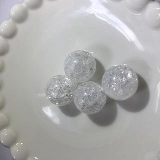 天然石 クラック水晶 15ミリ アクセサリーパーツ イヤリング ピアス に(各種パーツ)