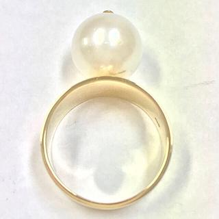 新品仕上済 K18YG白蝶パール 12ミリ玉 パールリング 15.5号(リング(指輪))