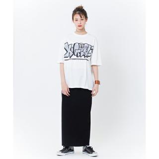 エックスガール(X-girl)のRIB KNIT SKIRT 黒、ロープボトルネック 黒(ロングスカート)