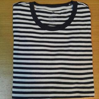 ムジルシリョウヒン(MUJI (無印良品))の無印良品 オーガニックコットン クルーネック半袖 ボーダーTシャツ  紺 L (Tシャツ/カットソー(半袖/袖なし))