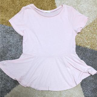ジーユー(GU)のGU ペプラムTシャツ ピンク(Tシャツ(半袖/袖なし))